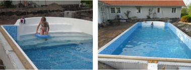 Mer än halva poolen är uppfylld och en värmebölja vid pingst gjorde att Linn inte kunde låta bli att ta ett provdopp.