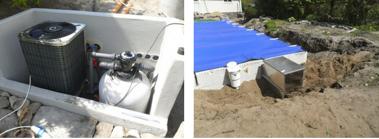 """Rören leder in till """"maskinrummet"""" med plats för pump och filter. Poolskyddet passar bra, håller för mindre djur."""