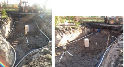 Hålet är uppgrävt och dränering och avvägning av ytan på gång, en massa vatten trycks upp hela tiden.