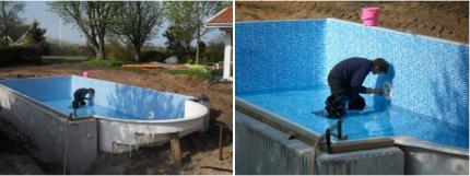 Montering av poolbelysning och mer vatten..