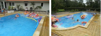 Sommar 2012...Trall och poolsten klar runt om, lagom för att Linn kunde ha poolparty.