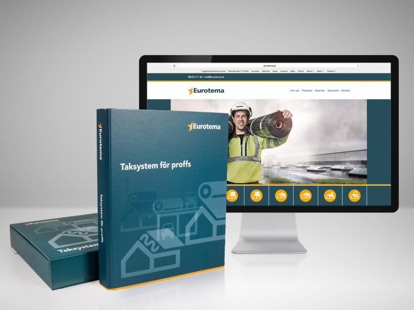 Grafisk identitet och produktion av webb och ett omfattande säljstödsmaterial för Eurotema.