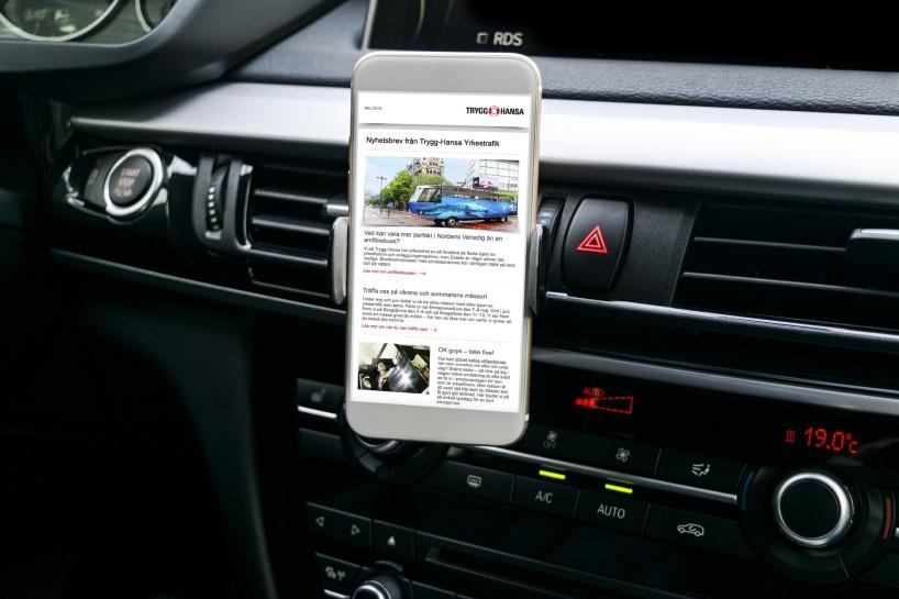 Innehållsproduktion av nyhetsbrev för Trygg-Hansa riktat till yrkesförare.