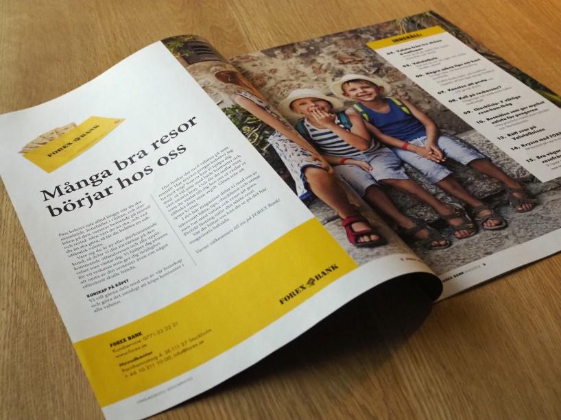Content marknadsföring i magasinsformat riktat till Forex Banks butikskunder.