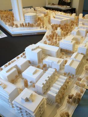 Modell över nya Norra Djurgårdsstaden
