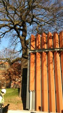 Prov på hur fasaden kommer att se - terrakotta. Fasaden klar 2017