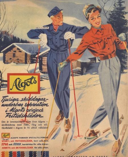 """""""Tjusiga skiddagar - underbar rekreation"""" - stämmer det in på ditt sportlov 2018? Med de orden marknadsförde klädföretaget Algots sina moderna fritidskläder vintern 1946. Säsongens favoriter var herrjackan """"Sky-liner"""" och damoverallen """"Girly-dress"""" - båda med Algots """"internationella snitt"""". Kanske var det därför """"det unga Sverige"""" kände """"livsglädje, fart och fläkt"""" i sina """"käcka"""" Algots-kläder. Åtminstone om man får tro reklamen... #"""