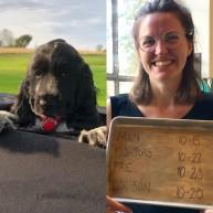 Hunden Åsa och glad tjer från Matcafe Mätarhuset