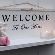 Dekorativ ljushylla - welcome to our home med doftande ängel