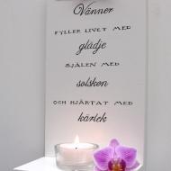 Handtextad Dekorativ ljushylla - Vänner...