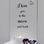 Handtextad ljushylla - I love you to the moon...