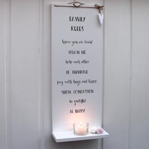 Family Rules - handtextad ljushylla -