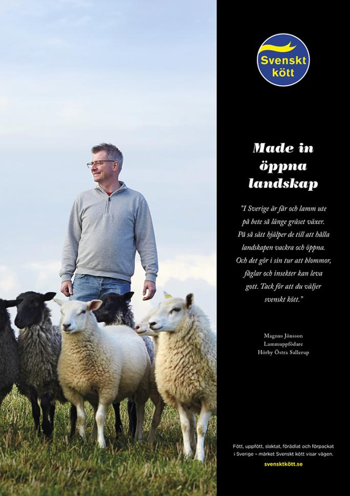 På bilden gör en bonde reklam för svenskt kött. Copyn är skriven av Ristretto Stockholm.