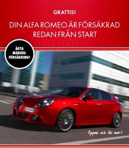 Säljande texter till Alfa Romeo märkesförsäkring.
