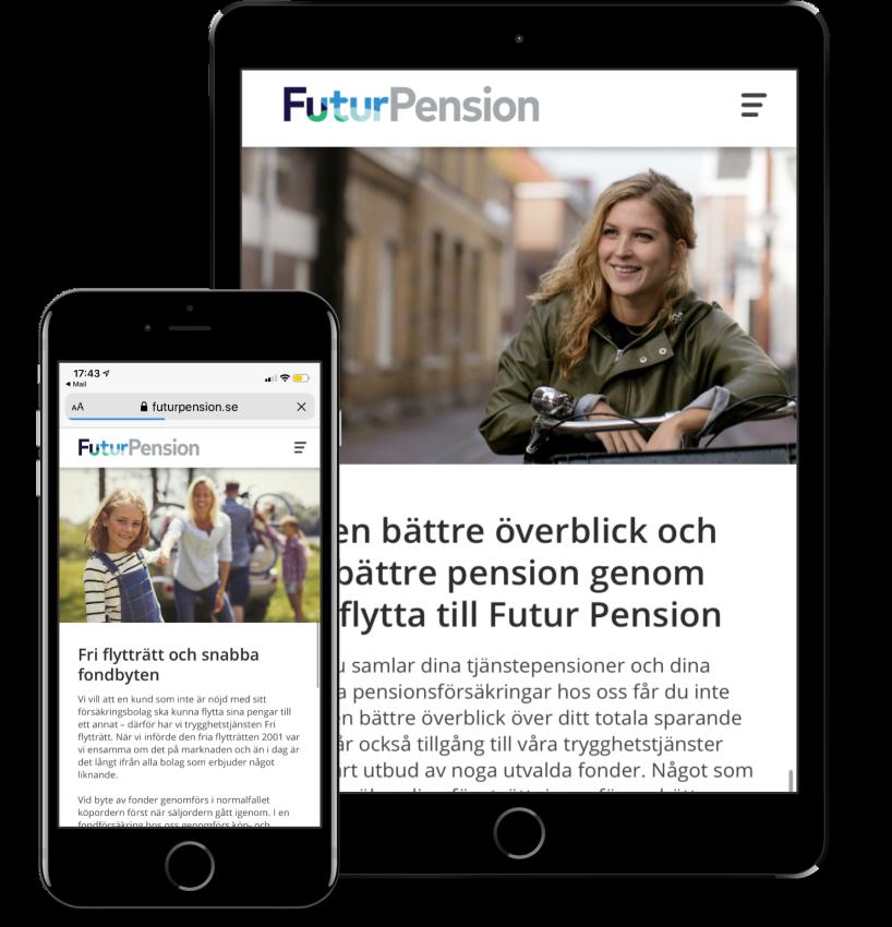 Webbcopy och content till Futur Pensions hemsida.