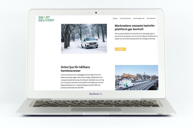 Bilden visar ett exempel på en hemsida med texter av Benny Karlsson, copywriter i Stockholm