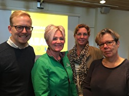 Robin Holmberg (M), Liss Böcker (C), Linda Persson (KD) och Eva Kullenberg (L) vid Alliansens kick off på stadshuset den 9 september - ett år före valet.