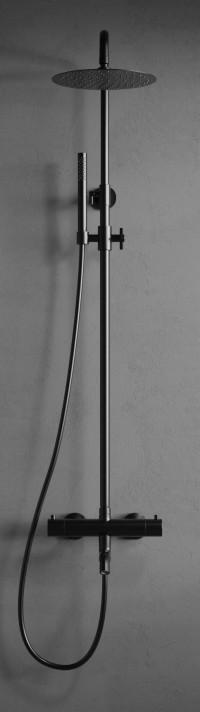 Steel Pleasure 3 Shadow - Svart duschblandare med badkarspip