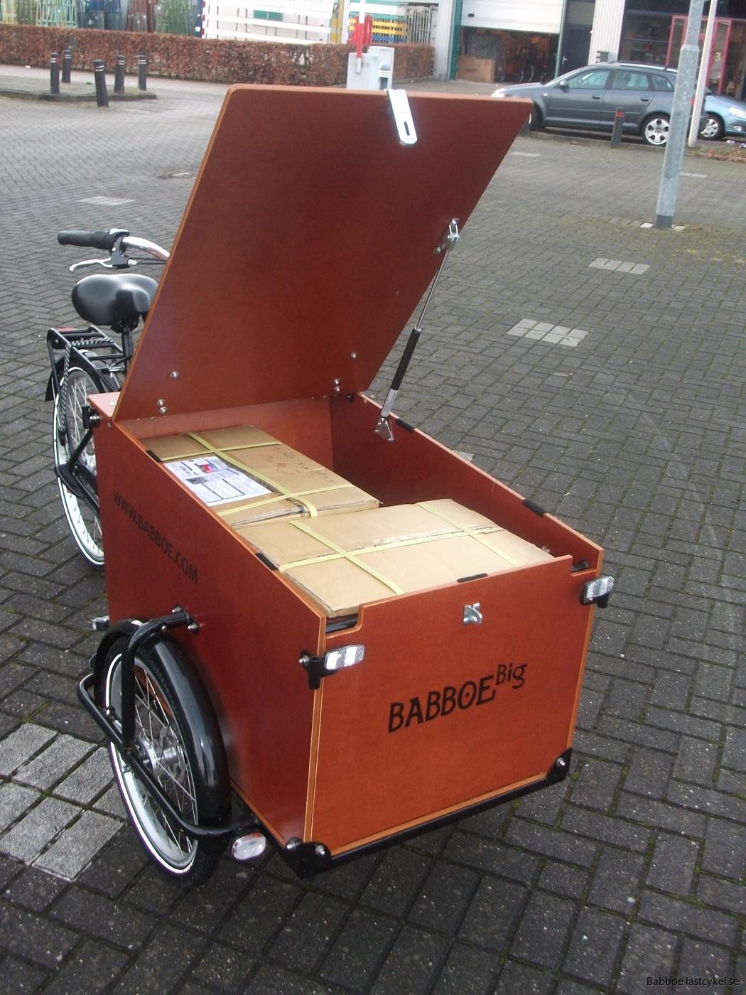 Babboe transporter lastcykel pakkad
