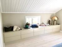 Förvaring, förvaringsbänk med rymliga lådor i sovrum