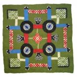 Trädgård. Tovad väggtextil med stickat mönster. 70x70 cm. 2009.