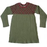 Grön tunika. Stickad i lammull, färgad med shibori-teknik. 2013.