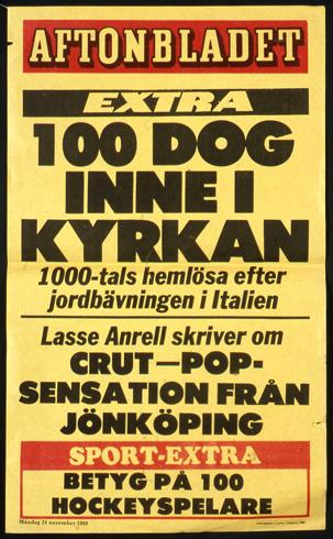 Löpsedel 24 november 1980.
