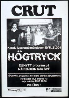 """Reklam för radioprogrammet """"Högtryck"""" med Crut 19/11 1979. Ur Mats Danielssons privata samling."""