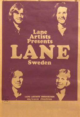 Affisch för Lane. Sune och Edde överst, Staffan och Curt nedanför. Affischen har skänkts till arkivet av Lisbeth Andersson.