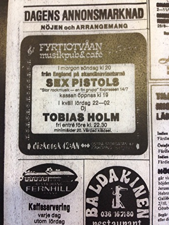 Annons i Jönköpings-Posten 16/7 1977. Även på fredagen, den 15/7 var en annons införd, men lite mindre.