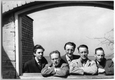 Lundbergs orkester, fr v: Göran Blom, Lasse Strid, Gösta Magnusson, Mats Starby och Nisse Lundberg.