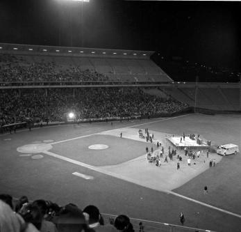 Beatles på Candlestick Stadium i San Francisco, augusti 1966.