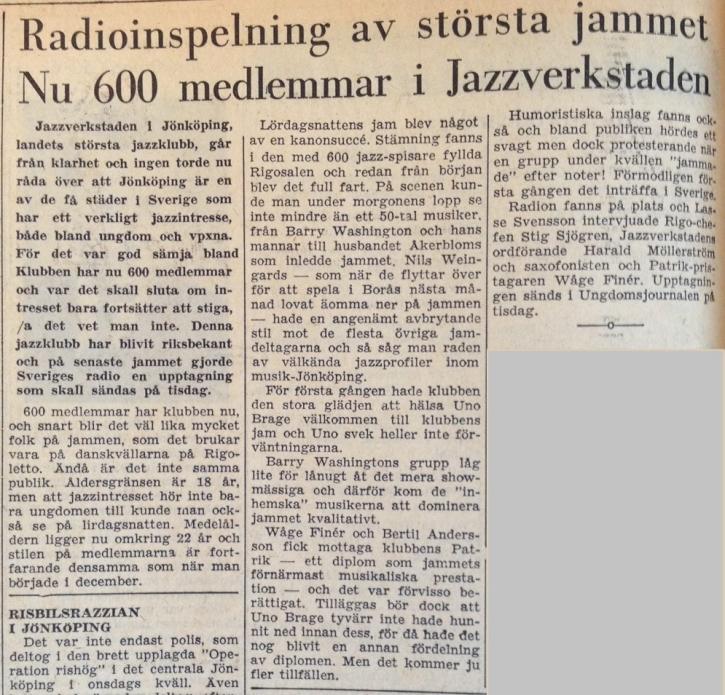 Smålands Folkblad 29/1 1962.