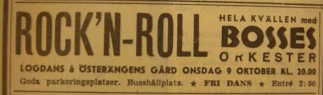 Annons inför logdans med rockmusik i oktober 1957.