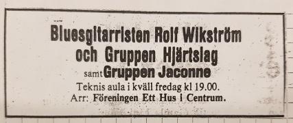 Annons i Smålands Folkblad 7 december 1977.