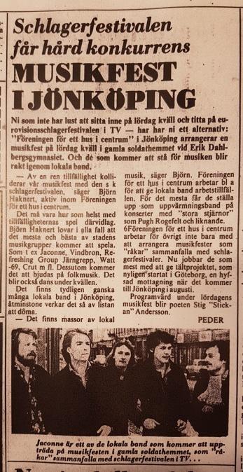 Även 1977 arrangerade föreningen en motfestival. Artikel ur Jönköpings-Posten.