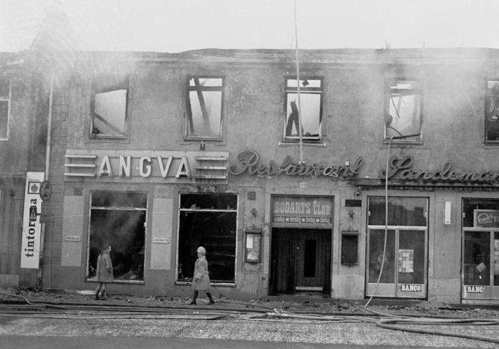 Sandemans/Bogarts efter branden i december 1973. Foto: Lucas Söderberg.