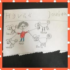 Moa ritade tavlan med Asta och hundar