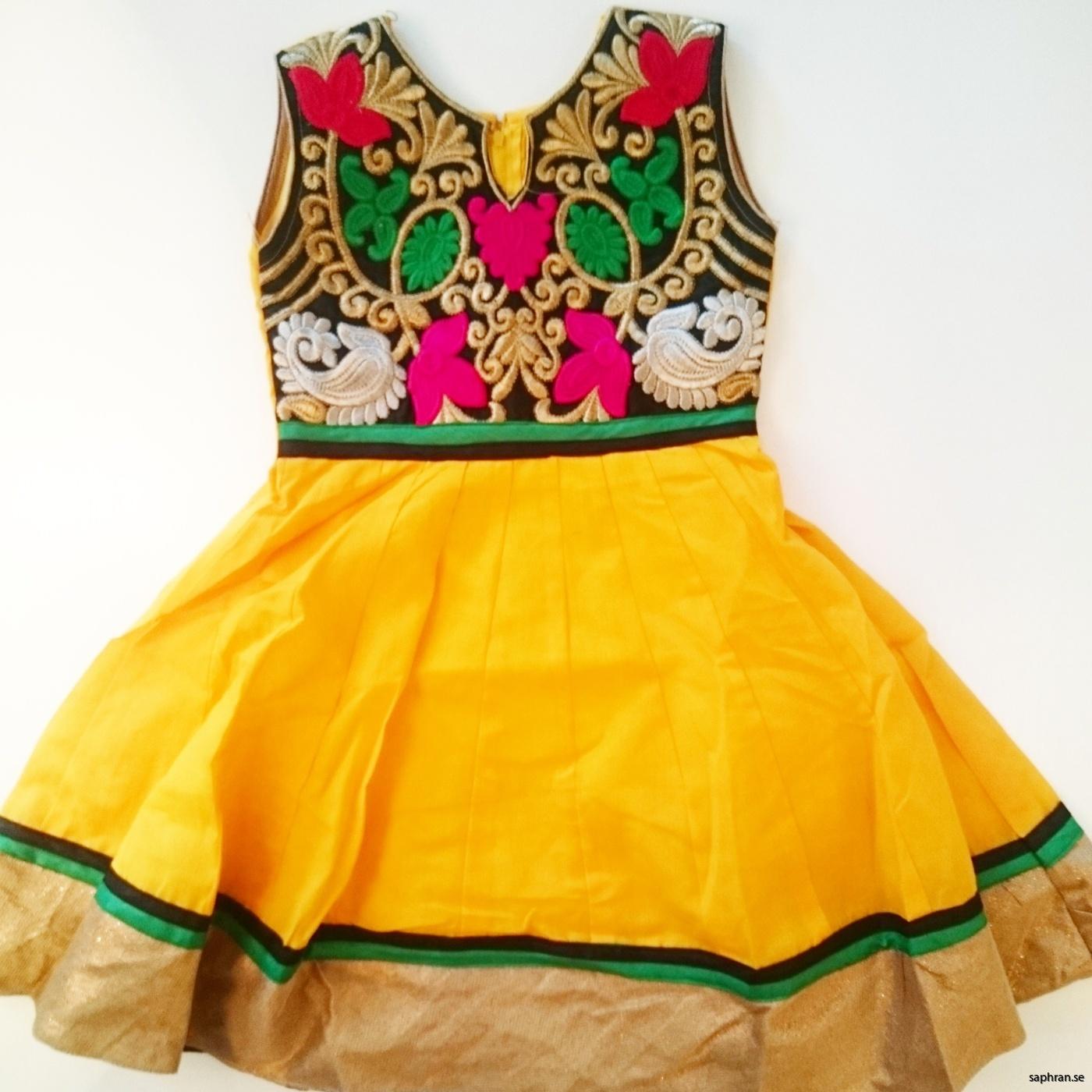 Barnklänning färgglad Elsa Gul