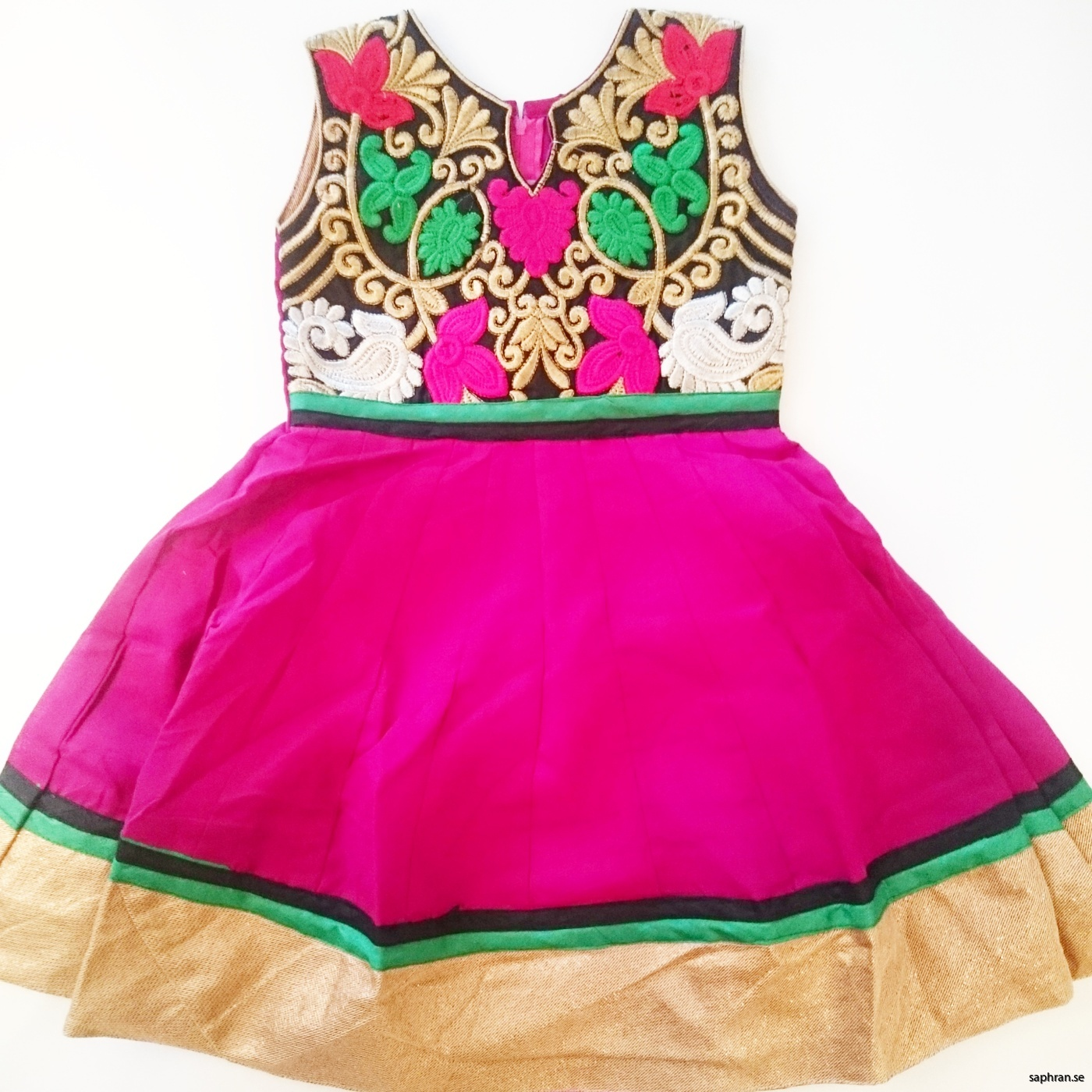 Barnklänning färgglatt mönstrad Elsa Cerise/Plommon