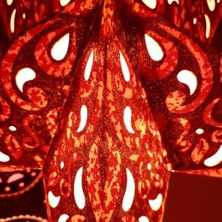 Glittrig färgglad julstjärna/adventsstjärna - ORANGERÖD - Orangeröd adventsstjärna