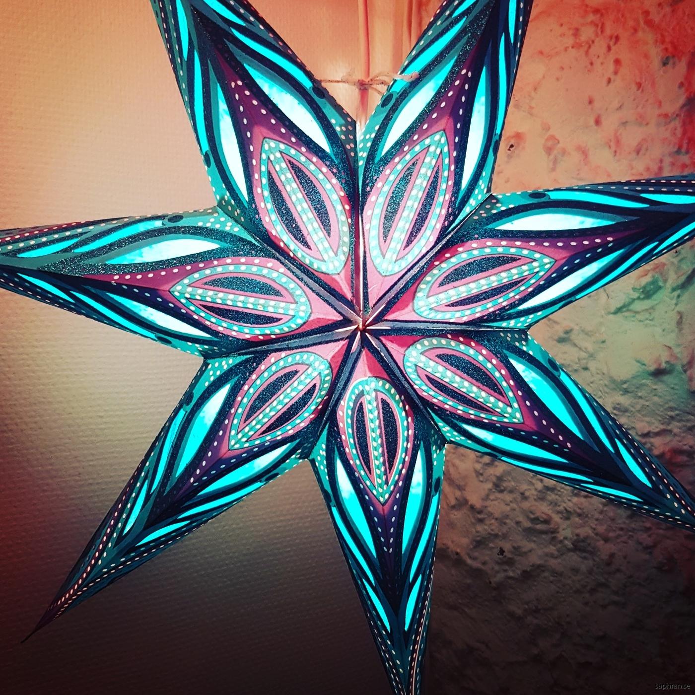 Turkos kitschig julstjärna/adventsstjärna från Indien