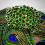 Stort armband med klara stenar - Grönt