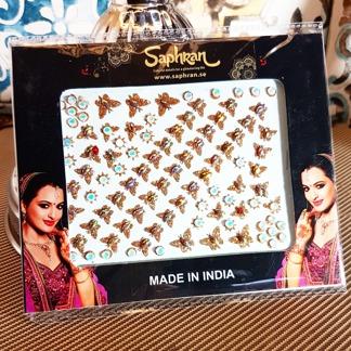 Bindi smycken stor karta - Guldiga fjärilar - Guldiga fjärilar