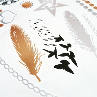 Glam tattoos metallic Fjäder -
