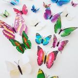 Fjärilar 3D stickers svartvit