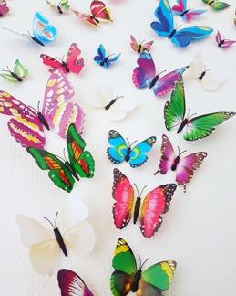 Fjärilar 3D stickers svartvit - Fjärilar svartvit 12-p