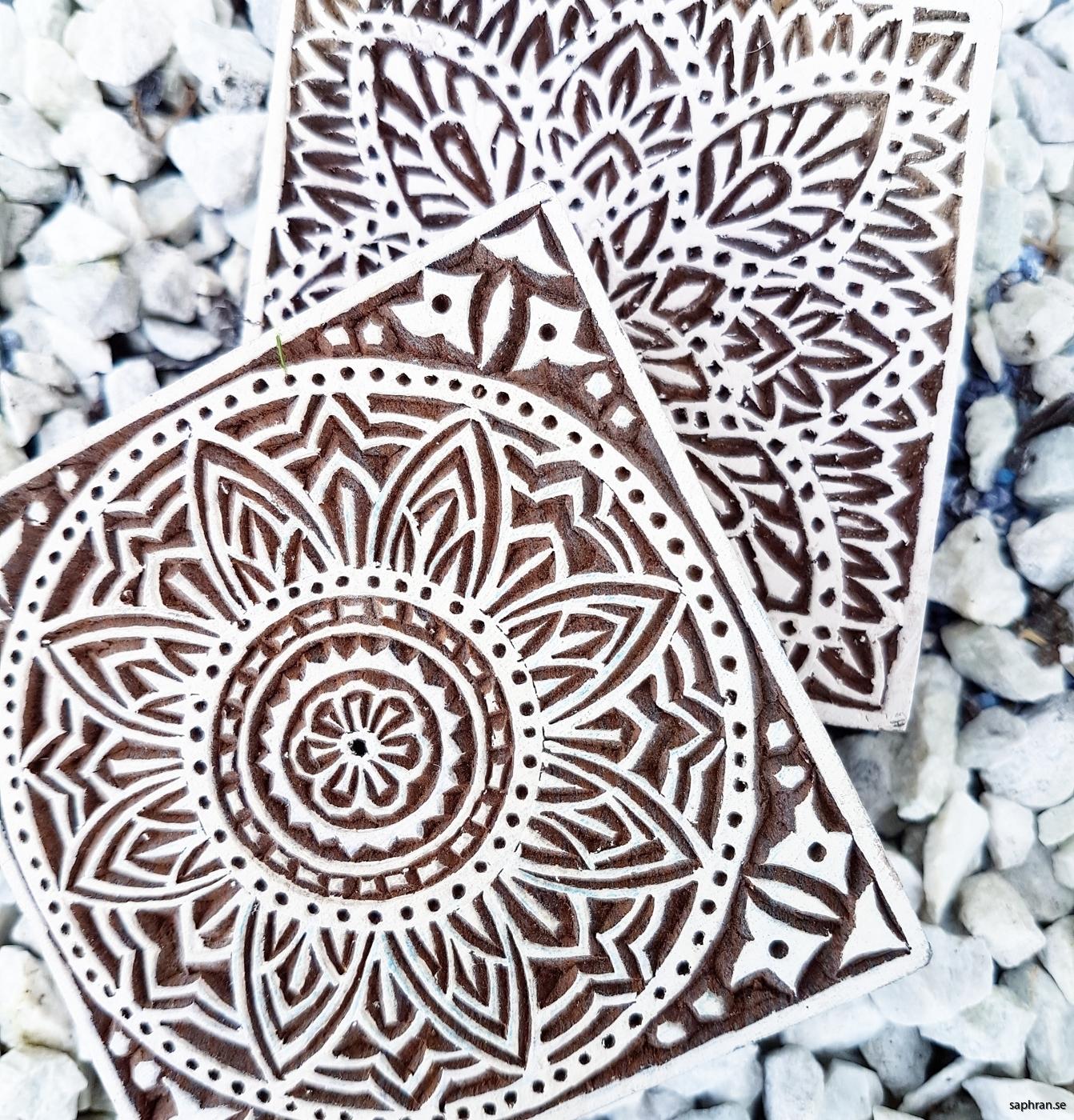 Indisk trästämpel för bl.a lera, tyg och papper