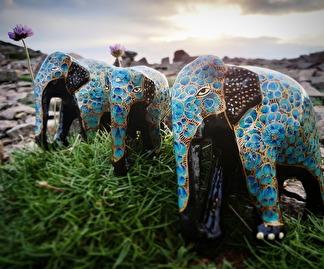 Prydnad Elefant färgglad 3st - Blå och guld 3-pack