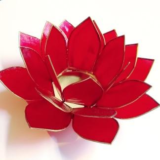 Lotusblomma ljuslykta - Röd - Röd